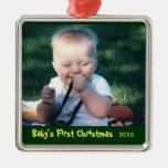 Primer ornamento de la foto del navidad del bebé ornamento de reyes magos