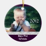 Primer ornamento de la foto del navidad del bebé ornamentos de reyes