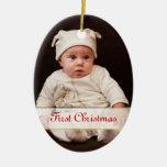 Primer ornamento de la foto del navidad del bebé ornamento de navidad