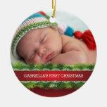 Primer ornamento de la foto del navidad del bebé h ornamentos de reyes