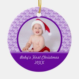 Primer ornamento de la foto del navidad del bebé p ornatos