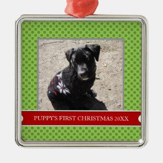 Primer ornamento de la foto del navidad del adorno cuadrado plateado