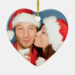 Primer ornamento de la foto del navidad del par ornamentos de navidad