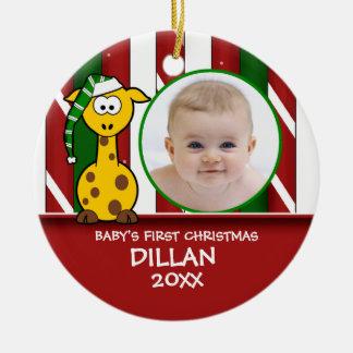 Primer ornamento de la jirafa del navidad del bebé adornos de navidad
