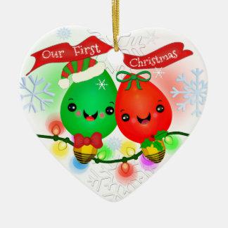 Primer ornamento de las luces de navidad de la adorno de cerámica en forma de corazón