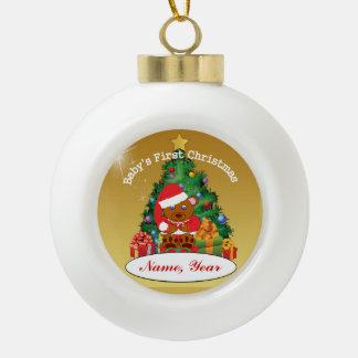 Primer ornamento del árbol de navidad del bebé adorno de cerámica en forma de bola