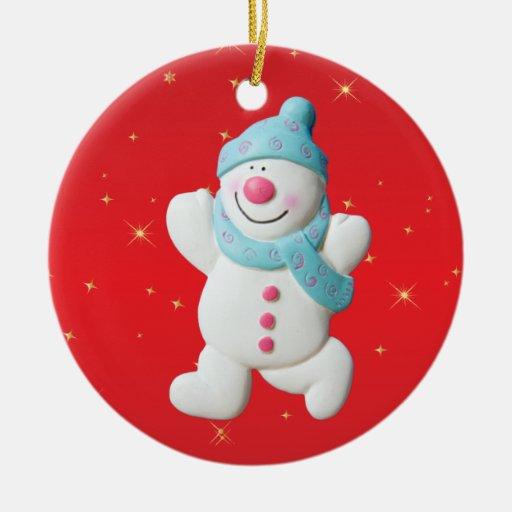 Primer ornamento del árbol del muñeco de nieve del adorno navideño redondo de cerámica
