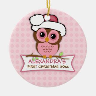 Primer ornamento del búho del navidad del bebé adorno navideño redondo de cerámica