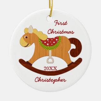 Primer ornamento del caballo mecedora del navidad  ornamentos para reyes magos