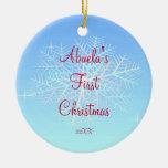 Primer ornamento del copo de nieve del navidad de adorno navideño redondo de cerámica