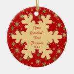 Primer ornamento del copo de nieve del navidad de adornos de navidad