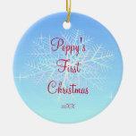 Primer ornamento del copo de nieve del navidad de  adorno para reyes