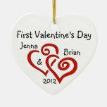 Primer ornamento del el día de San Valentín del pa Adorno De Navidad