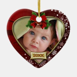Primer ornamento del marco de la foto del navidad adorno navideño de cerámica en forma de corazón