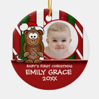 Primer ornamento del mono del bebé del navidad del adorno navideño redondo de cerámica
