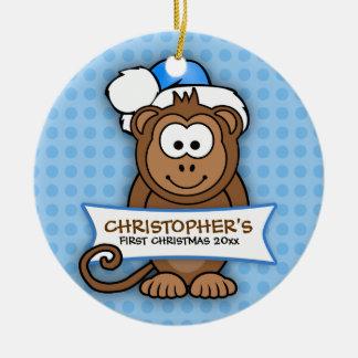 Primer ornamento del mono del navidad del bebé adorno navideño redondo de cerámica
