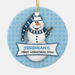 Primer ornamento del muñeco de nieve del navidad d ornamentos de reyes