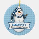 Primer ornamento del muñeco de nieve del navidad ornamentos de reyes