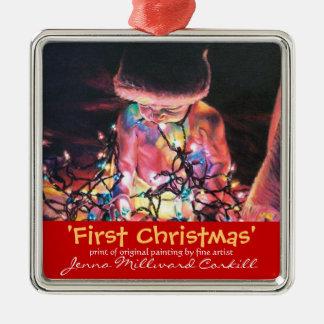 Primer ornamento del navidad adorno navideño cuadrado de metal