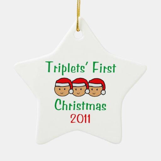 Primer ornamento del navidad de 2011 tríos adorno de cerámica en forma de estrella