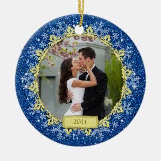 Primer ornamento del navidad de la foto del ornamento para arbol de navidad