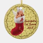 primer ornamento del navidad de los babys - oro ad ornamento de navidad