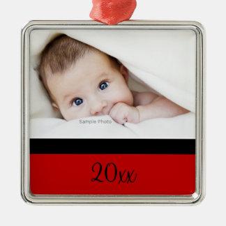 Primer ornamento del navidad de los bebés adorno navideño cuadrado de metal