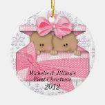 Primer ornamento del navidad de los gemelos adorno de reyes