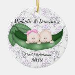 Primer ornamento del navidad de los gemelos adorno para reyes