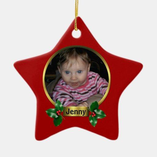 Primer ornamento del navidad adorno de cerámica en forma de estrella