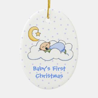 Primer ornamento del navidad del bebé adorno navideño ovalado de cerámica