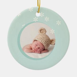 Primer ornamento del navidad del bebé adorno navideño redondo de cerámica