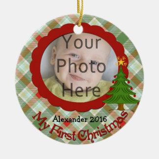 Primer ornamento del navidad del bebé agradable de adorno navideño redondo de cerámica