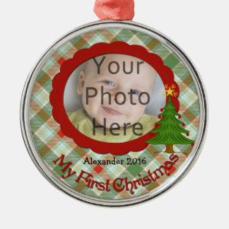 Primer ornamento del navidad del bebé agradable de adorno navideño redondo de metal