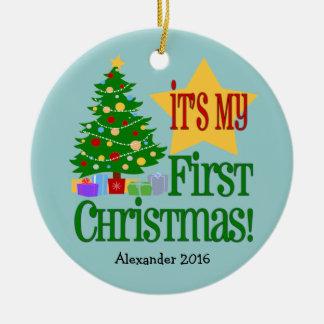 Primer ornamento del navidad del bebé azul claro adorno navideño redondo de cerámica
