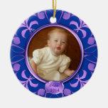 Primer ornamento del navidad del bebé azul de la adorno de reyes
