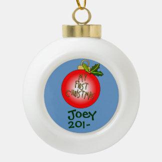 Primer ornamento del navidad del bebé de encargo adorno de cerámica en forma de bola