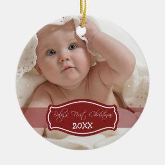 Primer ornamento del navidad del bebé de encargo adorno para reyes