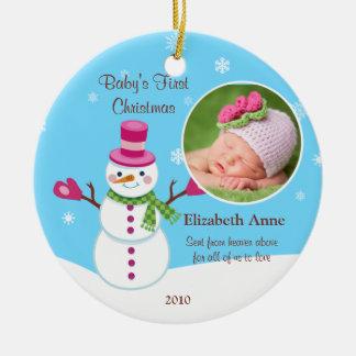 Primer ornamento del navidad del bebé adorno de reyes