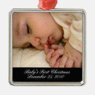 Primer ornamento del navidad del bebé adorno cuadrado plateado