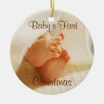 Primer ornamento del navidad del bebé ornamentos de navidad