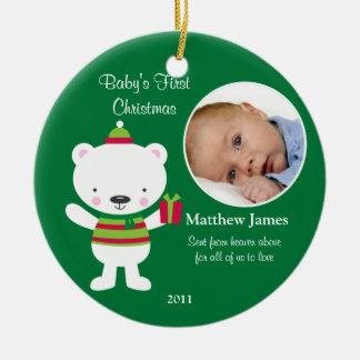 Primer ornamento del navidad del bebé adornos