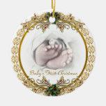 Primer ornamento del navidad del bebé adorno redondo de cerámica