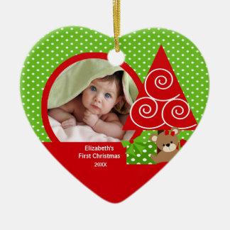 Primer ornamento del navidad del bebé del oso de l ornamentos de navidad
