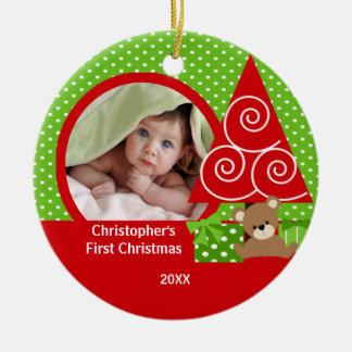 Primer ornamento del navidad del bebé del oso de l ornamentos para reyes magos