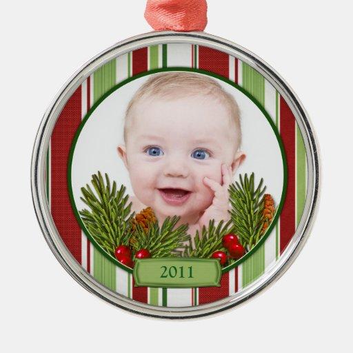 Primer ornamento del navidad del bebé - forma adorno navideño redondo de metal