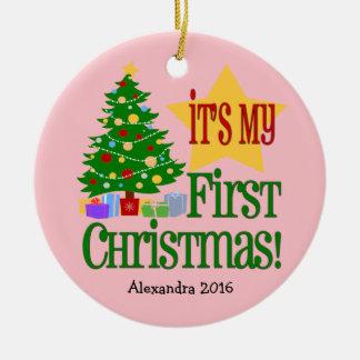 Primer ornamento del navidad del bebé rosa claro adorno navideño redondo de cerámica