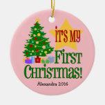 Primer ornamento del navidad del bebé rosa claro adornos