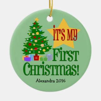 Primer ornamento del navidad del bebé verde claro adorno navideño redondo de cerámica