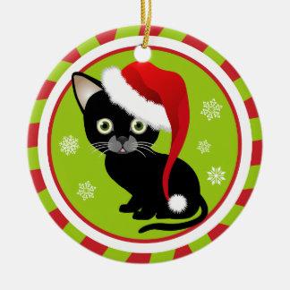 Primer ornamento del navidad del gatito adorno navideño redondo de cerámica